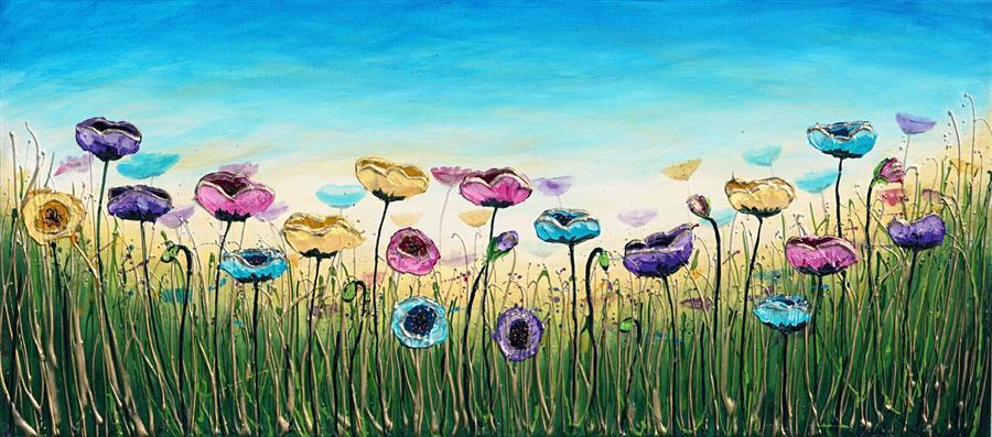 Original art for sale at UGallery.com   Elegant Flowers by Amanda Dagg   $700   acrylic painting   16' h x 36' w   ..\art\acrylic-painting-Elegant-Flowers