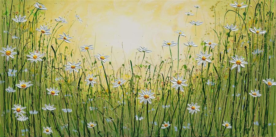 Original art for sale at UGallery.com | Daisy Delight by Amanda Dagg | $1,075 | acrylic painting | 20' h x 40' w | ..\art\acrylic-painting-Daisy-Delight