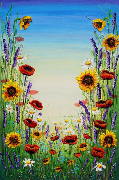 Original art for sale at UGallery.com | Symphony of Wildflowers by Amanda Dagg | $950 | acrylic painting | 36' h x 24' w | ..\art\acrylic-painting-Symphony-of-Wildflowers
