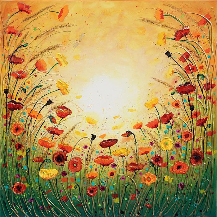 Original art for sale at UGallery.com   Sunshine Joyous Flowers by Amanda Dagg   $970   acrylic painting   30' h x 30' w   ..\art\acrylic-painting-Sunshine-Joyous-Flowers