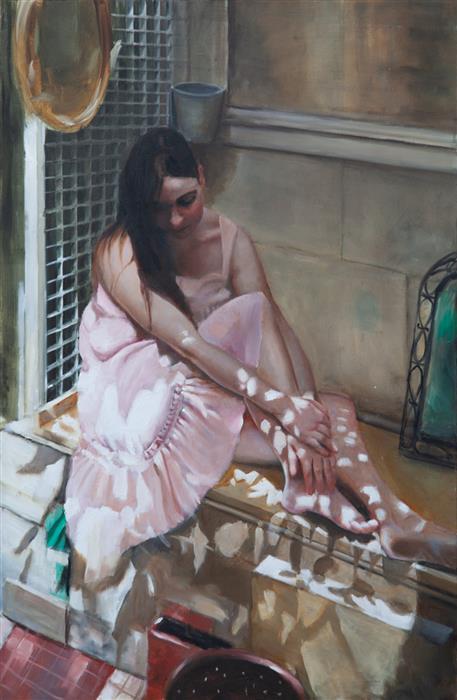 Original art for sale at UGallery.com | Wednesday Morning in the Garden by John Kelly | $3,500 | oil painting | 35.5' h x 24' w | ..\art\oil-painting-Wednesday-Morning-in-the-Garden