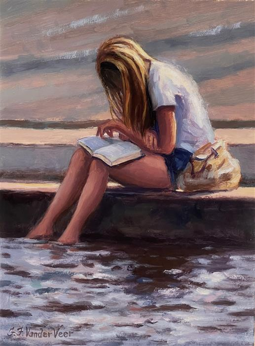 Original art for sale at UGallery.com   Young Girl Reading by Faye Vander Veer   $950   oil painting   12' h x 9' w   ..\art\oil-painting-Young-Girl-Reading