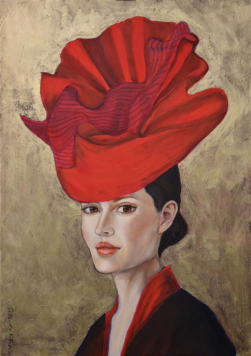 Original art for sale at UGallery.com   Red Hat by Daniela Bini   $1,350   mixed media artwork   27.5' h x 19.7' w   ..\art\mixed-media-artwork-Red-Hat