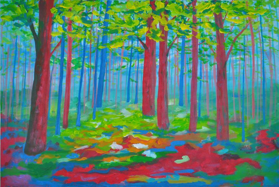 Original art for sale at UGallery.com | Bois de Boulogne I by Zelie Alice | $1,450 | acrylic painting | 20.5' h x 30' w | ..\art\acrylic-painting-Bois-de-Boulogne-I
