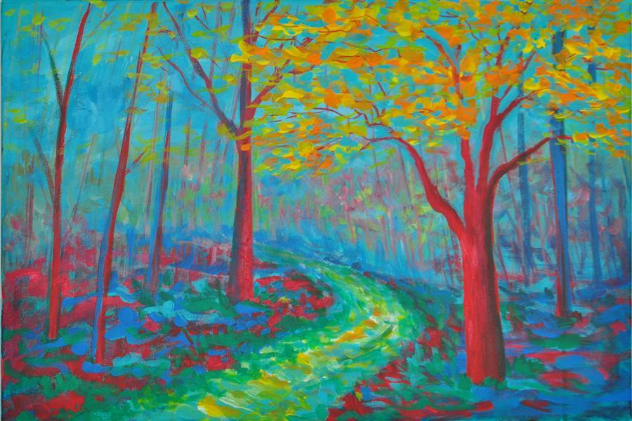 Original art for sale at UGallery.com   Bois de Boulogne II by Zelie Alice   $800   acrylic painting   16' h x 23.5' w   ..\art\acrylic-painting-Bois-de-Boulogne-II