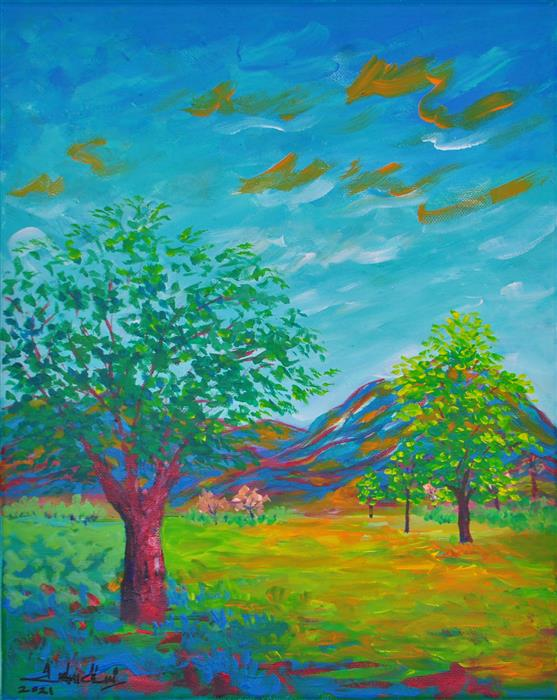 Original art for sale at UGallery.com | Summer Haze by Zelie Alice | $450 | acrylic painting | 15.5' h x 12' w | ..\art\acrylic-painting-Summer-Haze