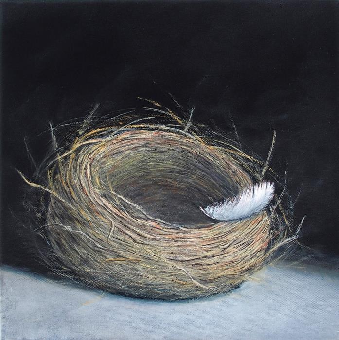 Original art for sale at UGallery.com   Light, as a Feather by Jennifer Ross   $475   oil painting   12' h x 12' w   ..\art\oil-painting-Light-As-A-Feather-71864