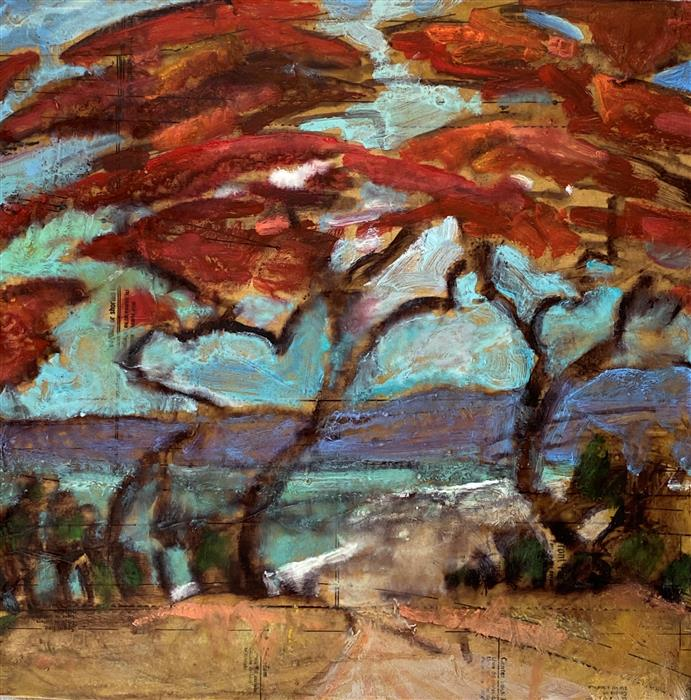 Original art for sale at UGallery.com   Path to Hidden Beach by James Hartman   $850   encaustic artwork   18.5' h x 18.5' w   ..\art\encaustic-artwork-Path-to-Hidden-Beach
