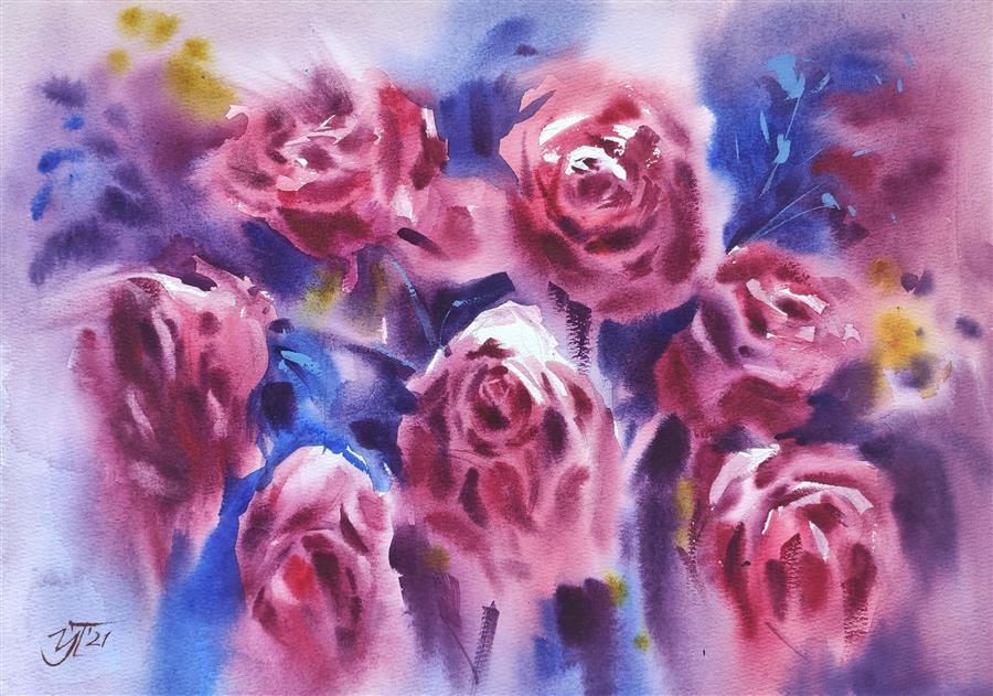 Original art for sale at UGallery.com | Bouquet of Wine Color by Irina Pronina | $500 | watercolor painting | 10' h x 15' w | ..\art\watercolor-painting-Bouquet-of-Wine-Color