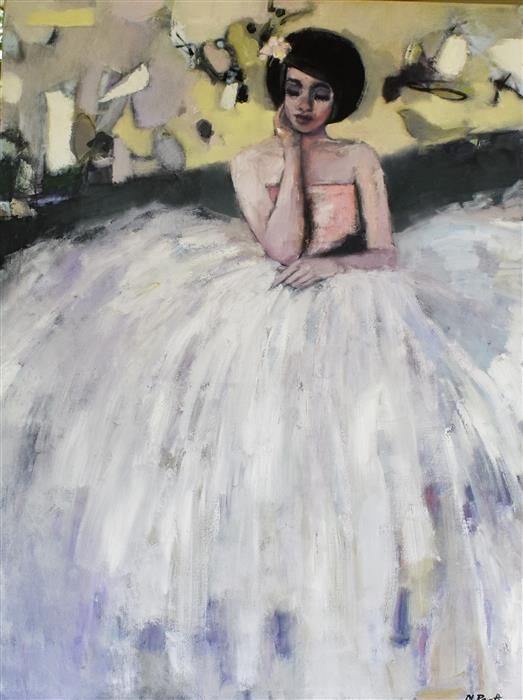 Original art for sale at UGallery.com   Seated in Yellow by Mary Pratt   $2,600   oil painting   48' h x 36' w   ..\art\oil-painting-Seated-in-Yellow