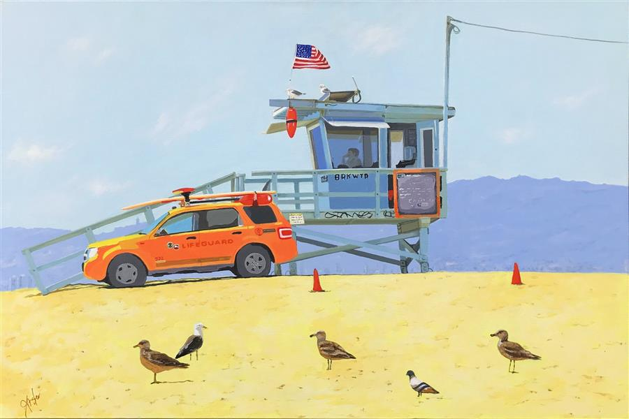 Original art for sale at UGallery.com | Beach Patrol by John Jaster | $1,300 | acrylic painting | 24' h x 36' w | ..\art\acrylic-painting-Beach-Patrol