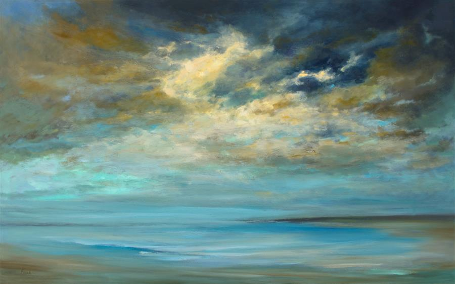 Original art for sale at UGallery.com | Sky Glow by Sheila Finch | $3,800 | oil painting | 30' h x 48' w | ..\art\oil-painting-Sky-Glow