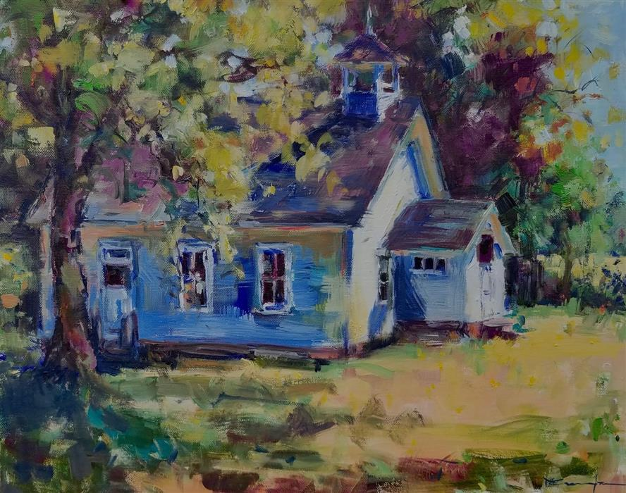 Original art for sale at UGallery.com | One-Room Schoolhouse by Mickey Cunningham | $600 | oil painting | 16' h x 20' w | ..\art\oil-painting-One-Room-Schoolhouse