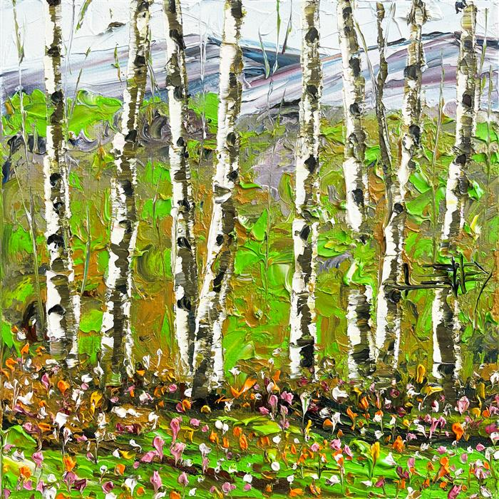 Original art for sale at UGallery.com | Summer Birch by Lisa Elley | $425 | oil painting | 12' h x 12' w | ..\art\oil-painting-Summer-Birch