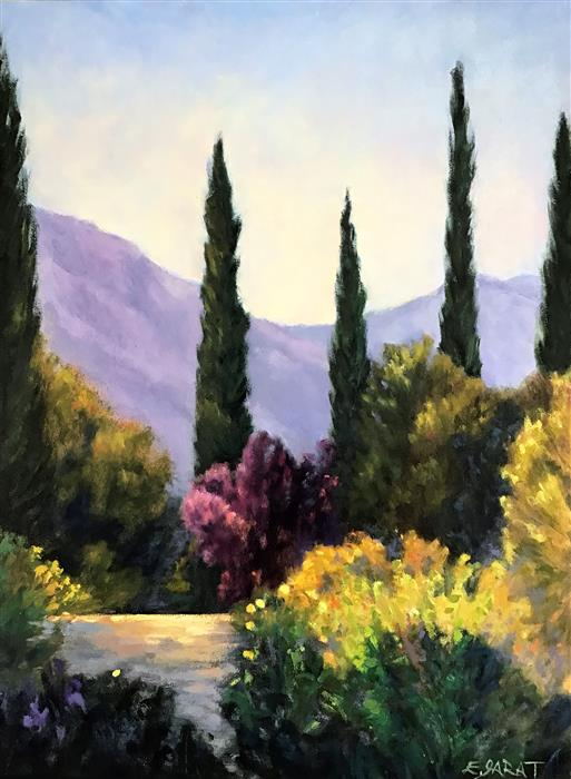 Original art for sale at UGallery.com   Garden Vista, Cypresses and Plum by Elizabeth Garat   $1,050   oil painting   24' h x 18' w   ..\art\oil-painting-Garden-Vista-Cypresses-and-Plum