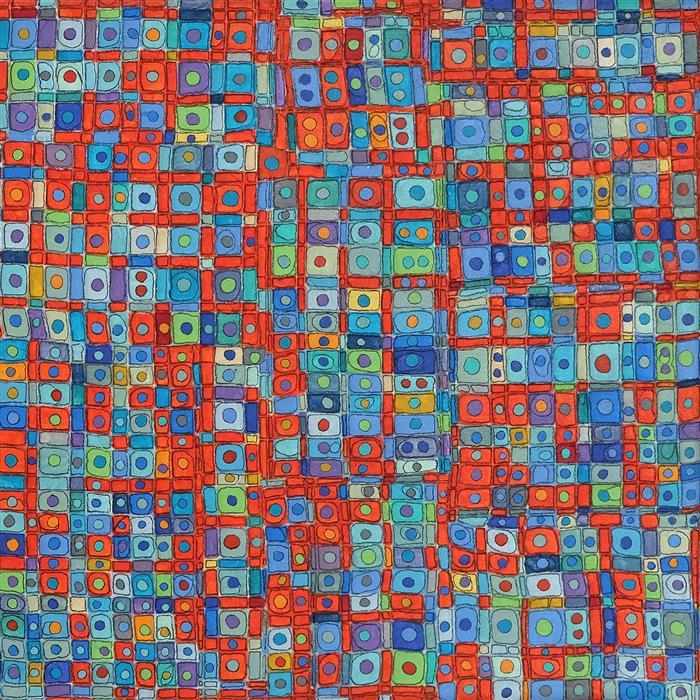 Original art for sale at UGallery.com | Hang Ah Street by Terri Bell | $325 | mixed media artwork | 12' h x 12' w | ..\art\mixed-media-artwork-Hang-Ah-Street