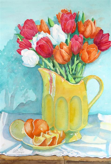 Original art for sale at UGallery.com   Red Tulips on Turquoise by Nancy LaBerge Muren   $675   watercolor painting   21' h x 15' w   ..\art\watercolor-painting-Red-Tulips-on-Turquoise