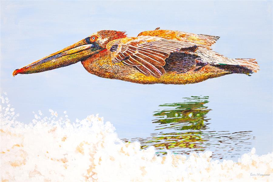 Original art for sale at UGallery.com | Pelican Nearshore by Emil Morhardt | $1,925 | acrylic painting | 24' h x 36' w | ..\art\acrylic-painting-Pelican-Nearshore