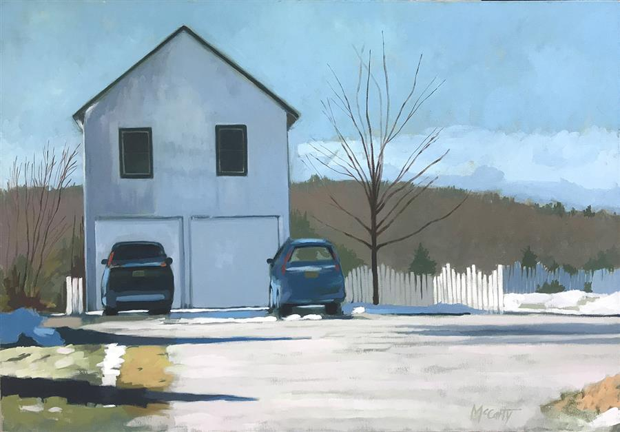 Original art for sale at UGallery.com | Two Cars by Brian McCarty | $800 | oil painting | 24' h x 36' w | ..\art\oil-painting-Two-Cars