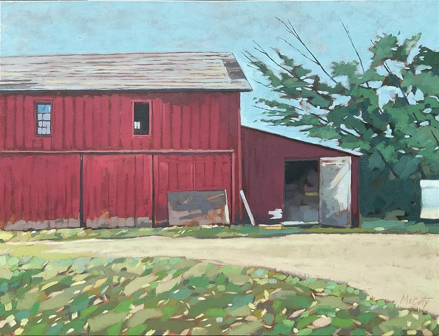 Original art for sale at UGallery.com   Red Barn by Brian McCarty   $775   oil painting   22' h x 28' w   ..\art\oil-painting-Red-Barn-71902