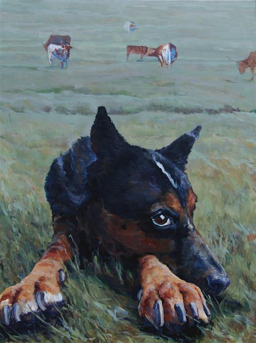 Original art for sale at UGallery.com | Ranch Pause by Heather Foster | $3,575 | acrylic painting | 40' h x 30' w | ..\art\acrylic-painting-Ranch-Pause