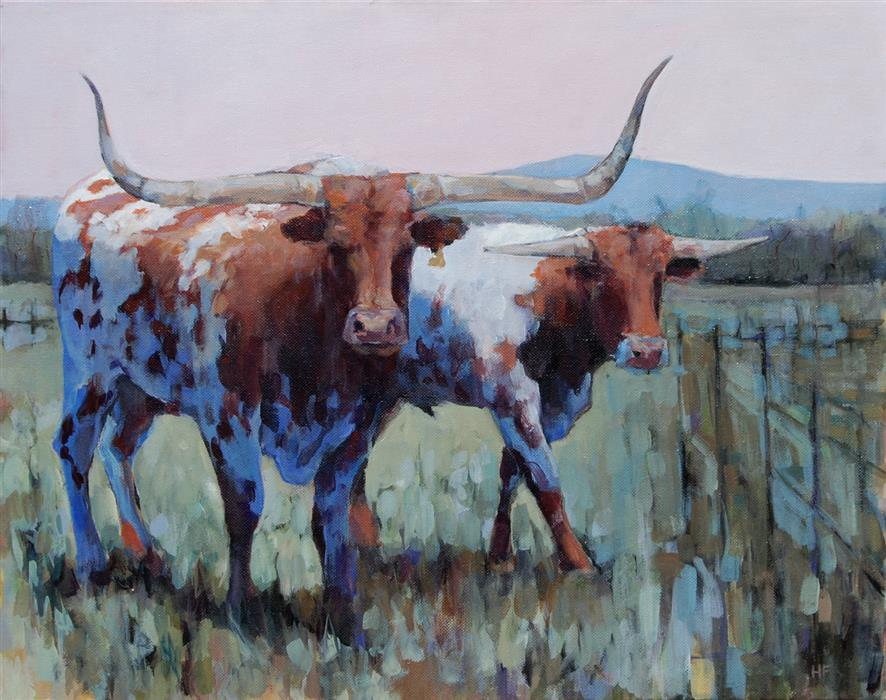 Original art for sale at UGallery.com   Pagosa 2 Bulls by Heather Foster   $1,950   acrylic painting   16' h x 20' w   ..\art\acrylic-painting-Pagosa-2-Bulls