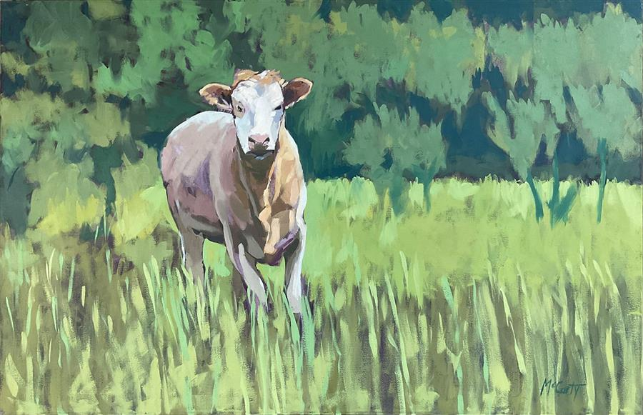 Original art for sale at UGallery.com   One Cow by Brian McCarty   $800   oil painting   24' h x 36' w   ..\art\oil-painting-One-Cow