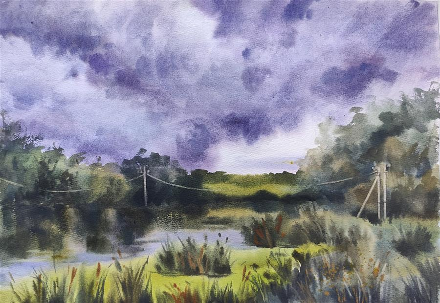 Original art for sale at UGallery.com | Before The Storm by Irina Pronina | $500 | watercolor painting | 10' h x 15' w | ..\art\watercolor-painting-Before-The-Storm