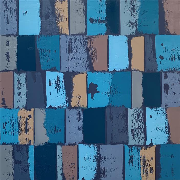 Original art for sale at UGallery.com | AG-Blue/Grey by Janet Hamilton | $2,000 | oil painting | 30' h x 30' w | ..\art\oil-painting-AG-Blue-Grey