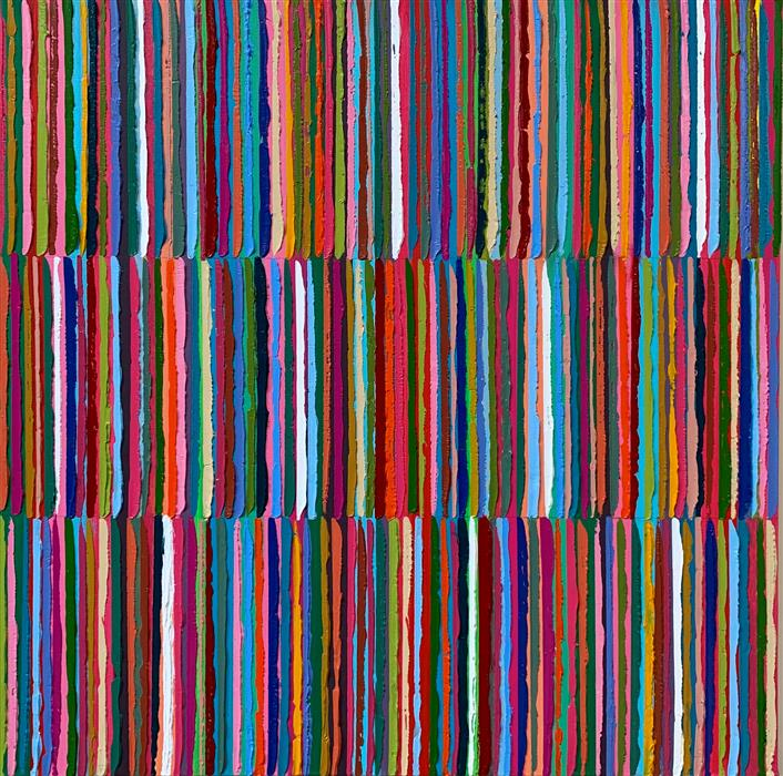 Original art for sale at UGallery.com   Triple Stripes B by Janet Hamilton   $2,000   oil painting   30' h x 30' w   ..\art\oil-painting-Triple-Stripes-B
