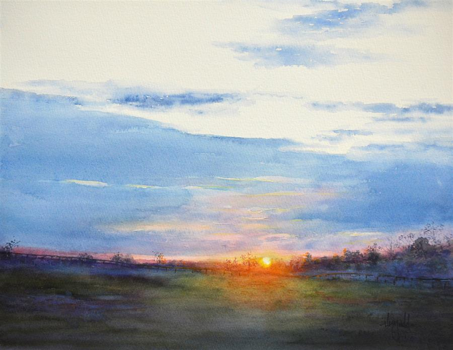 Original art for sale at UGallery.com   Kentucky Sunset by Judy Mudd   $750   watercolor painting   11.5' h x 15' w   ..\art\watercolor-painting-Kentucky-Sunset