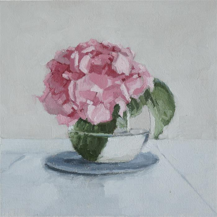 Original art for sale at UGallery.com | Hydrangea in Bloom by Nicole Lamothe | $325 | oil painting | 8' h x 8' w | ..\art\oil-painting-Hydrangea-in-Bloom