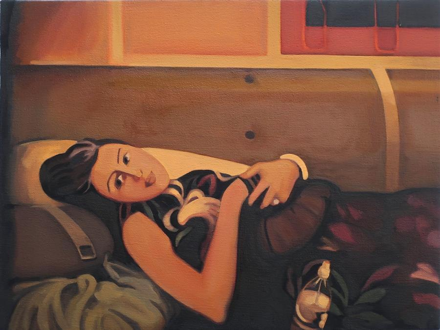 Original art for sale at UGallery.com | Young Woman Resting on a Pile of Coats by Hadley Northrop | $675 | oil painting | 12' h x 16' w | ..\art\oil-painting-Young-Woman-Resting-on-a-Pile-of-Coats