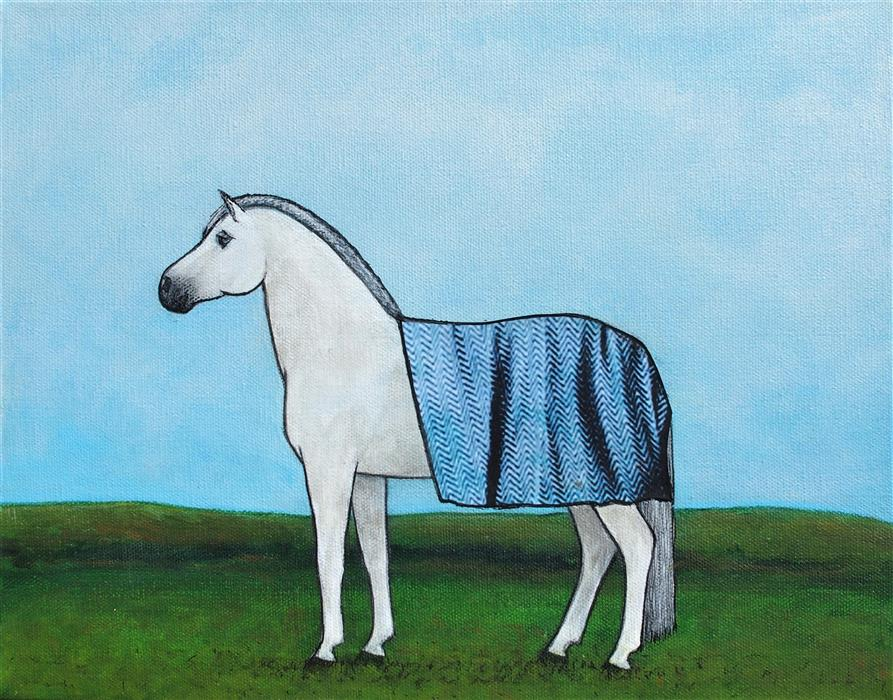 Original art for sale at UGallery.com   Security Blanket on a Welsh Pony by Jennifer Ross   $450   mixed media artwork   11' h x 14' w   ..\art\mixed-media-artwork-Security-Blanket-On-A-Welsh-Pony