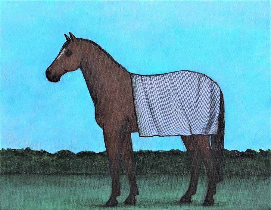 Original art for sale at UGallery.com   Security Blanket on a Bay Horse by Jennifer Ross   $450   mixed media artwork   11' h x 14' w   ..\art\mixed-media-artwork-Security-Blanket-On-A-Bay-Horse