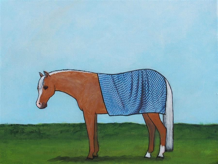 Original art for sale at UGallery.com | Security Blanket on a Palomino Pony by Jennifer Ross | $450 | mixed media artwork | 11' h x 14' w | ..\art\mixed-media-artwork-Security-Blanket-on-a-Palomino-Pony