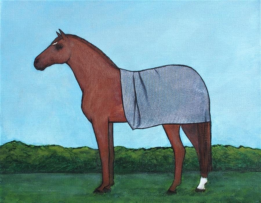 Original art for sale at UGallery.com   Security Blanket on a Chestnut Horse by Jennifer Ross   $450   mixed media artwork   11' h x 14' w   ..\art\mixed-media-artwork-Security-Blanket-on-a-Chestnut-Horse