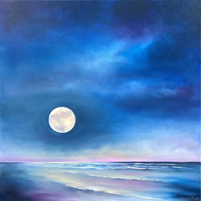 Original art for sale at UGallery.com   Moonrise Ocean by Nancy Hughes Miller   $1,100   oil painting   20' h x 20' w   ..\art\oil-painting-Moonrise-Ocean