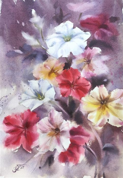 Original art for sale at UGallery.com | Bright Petunia by Irina Pronina | $500 | watercolor painting | 15' h x 10' w | ..\art\watercolor-painting-Bright-Petunia