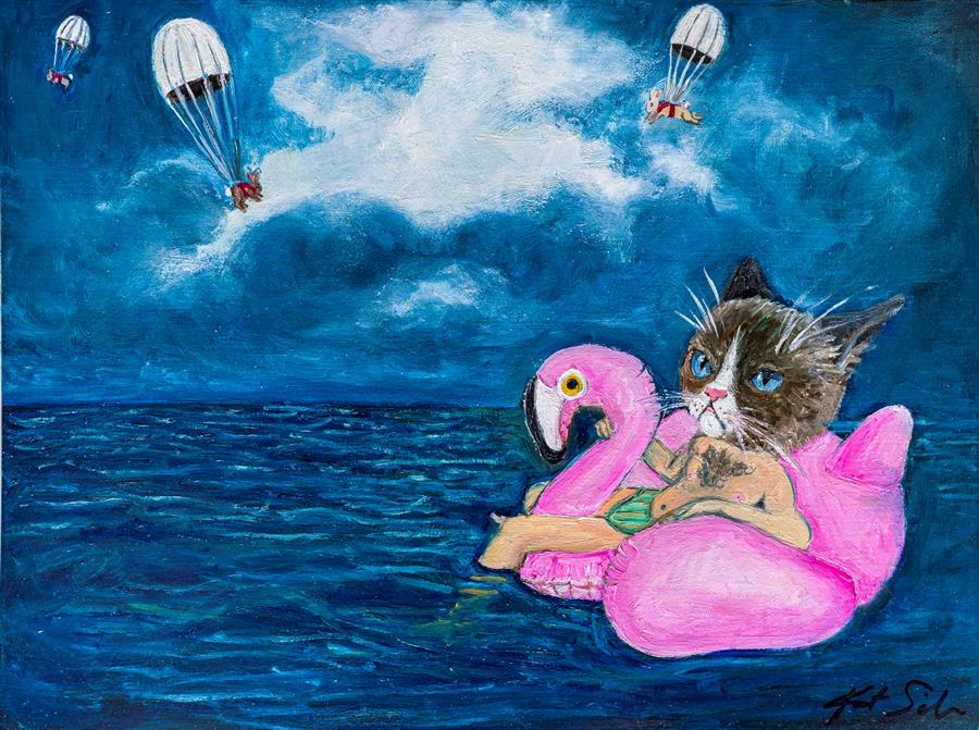 Original art for sale at UGallery.com | Stranded at Sea by Kat Silver | $475 | oil painting | 9' h x 12' w | ..\art\oil-painting-Stranded-at-Sea