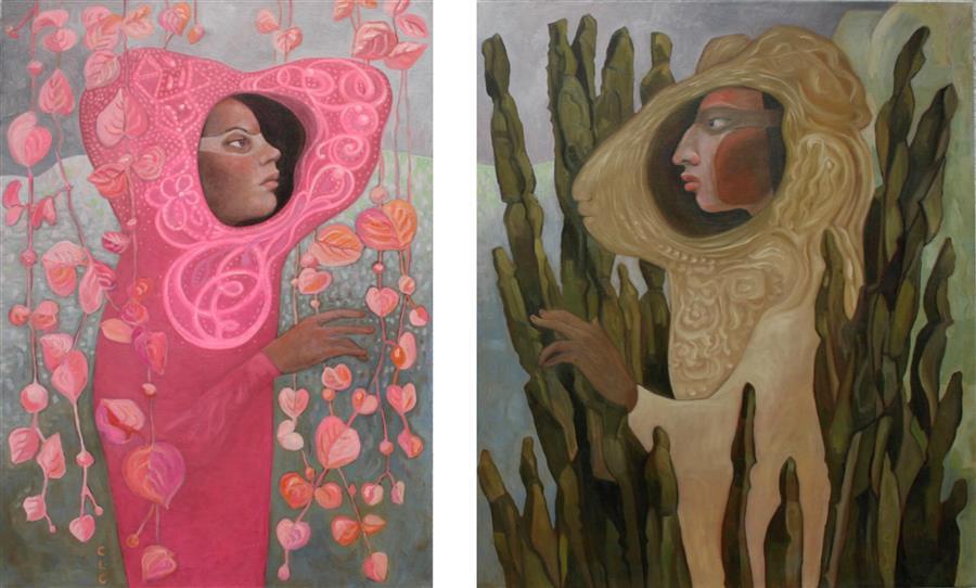 Original art for sale at UGallery.com | Ancestors by Cristina Lopez Casas | $2,750 | oil painting | 31.4' h x 51.1' w | ..\art\oil-painting-Ancestors