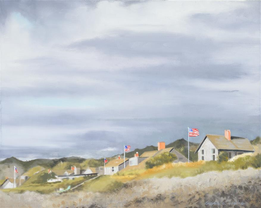 Original art for sale at UGallery.com | Five Flags by Susan Walker | $775 | oil painting | 16' h x 20' w | ..\art\oil-painting-Five-Flags