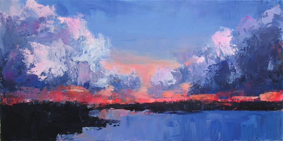 Original art for sale at UGallery.com   Beach at Sunset by Janet Dyer   $700   acrylic painting   12' h x 24' w   ..\art\acrylic-painting-Beach-at-Sunset