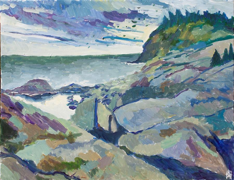 Original art for sale at UGallery.com | Monhegan Coastline by Robert Hofherr | $1,325 | acrylic painting | 24' h x 30' w | ..\art\acrylic-painting-Monhegan-Coastline