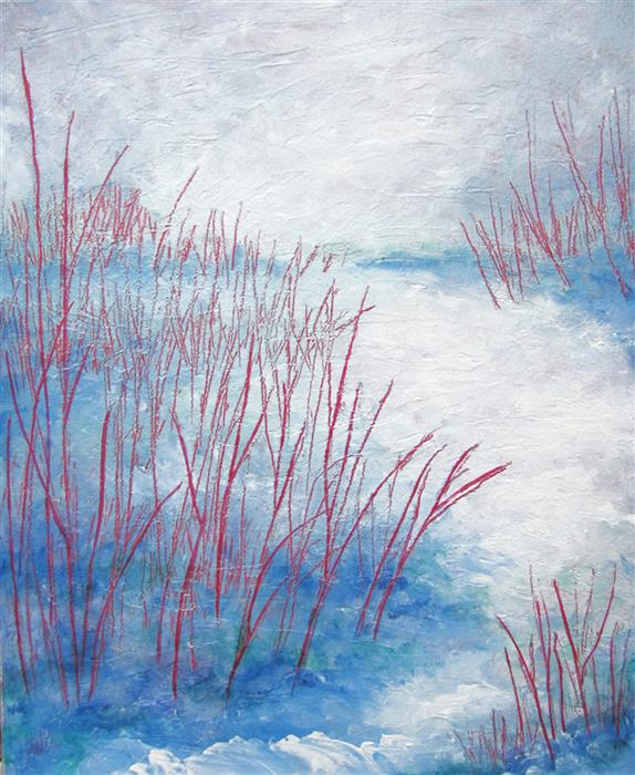 Original art for sale at UGallery.com | Red Twigs by Valerie Berkely | $450 | oil painting | 20' h x 15' w | ..\art\oil-painting-Red-Twigs