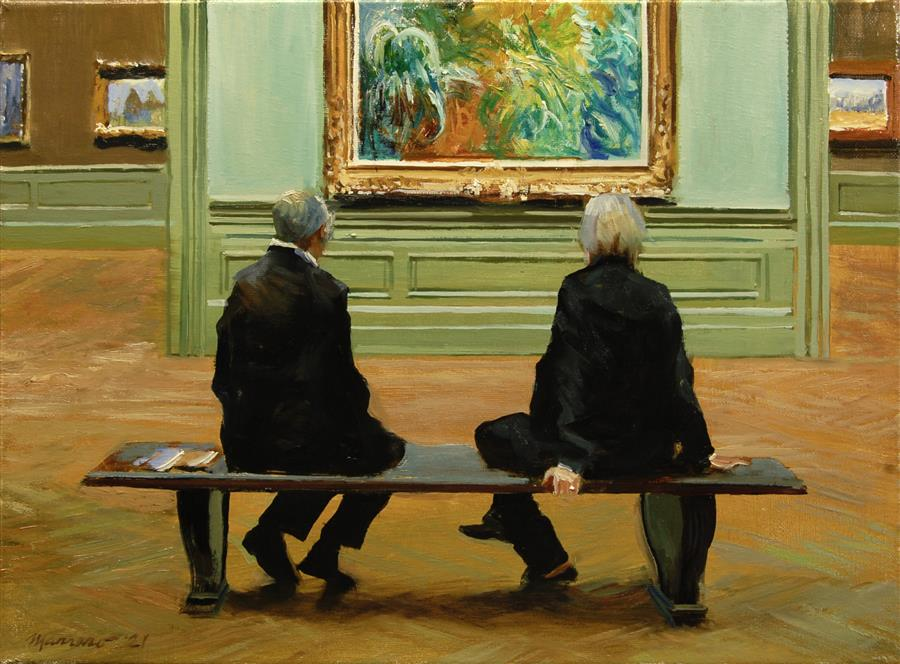Original art for sale at UGallery.com | Monet To Themselves by Onelio Marrero | $700 | oil painting | 12' h x 16' w | ..\art\oil-painting-Monet-To-Themselves