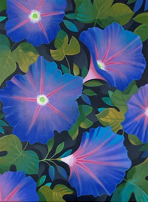 Original art for sale at UGallery.com | Morning Glories by Johnny Karwan | $850 | acrylic painting | 24' h x 18' w | ..\art\acrylic-painting-Morning-Glories-71990