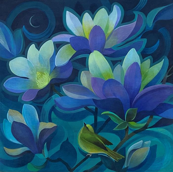 Original art for sale at UGallery.com | Midnight Magnolias by Johnny Karwan | $950 | acrylic painting | 20' h x 20' w | ..\art\acrylic-painting-Midnight-Magnolias