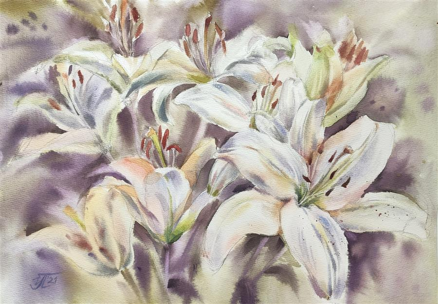 Original art for sale at UGallery.com   Gentle Lilies by Irina Pronina   $500   watercolor painting   10' h x 15' w   ..\art\watercolor-painting-Gentle-Lilies