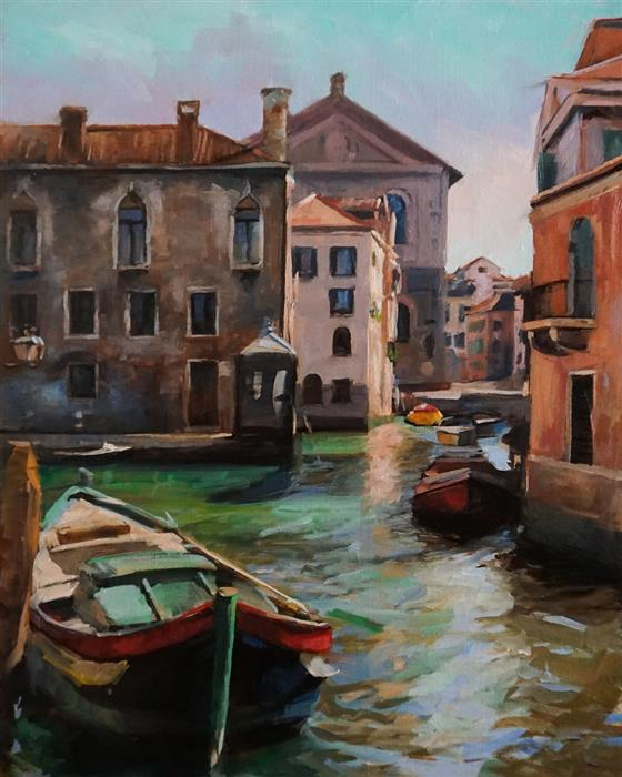 Original art for sale at UGallery.com   Quiet Day on the Canal by Jonelle Summerfield   $900   oil painting   20' h x 16' w   ..\art\oil-painting-Quiet-Day-on-the-Canal